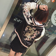 Embroidered Flower Harajuku Baseball Jacket  YV2285