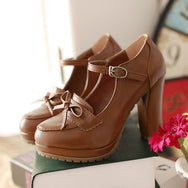 Cute Lolita Mid Heel Bow Shoes YV8067