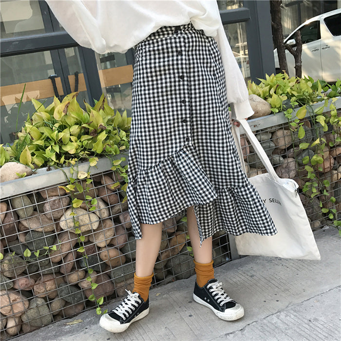 Ruffled Plaid Skirt YV456
