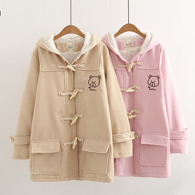 Cute bear hooded woolen jacket YV411