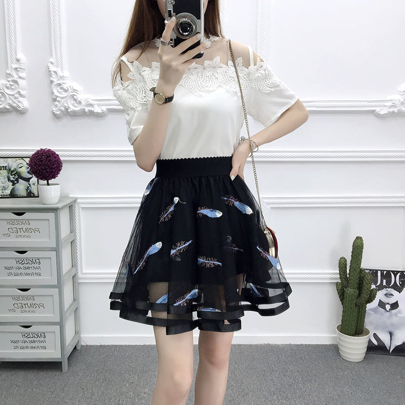 Flower mesh high waist skirt YV40164