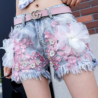 Korean fashion embroidered jeans YV90105