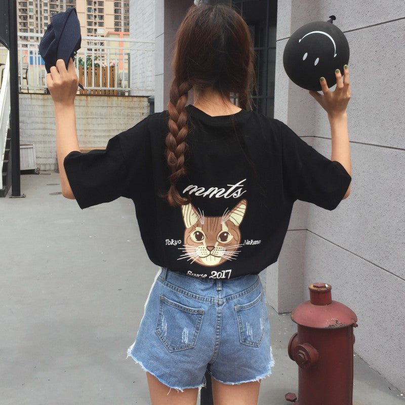 Cat embroidery printing T-shirt YV576