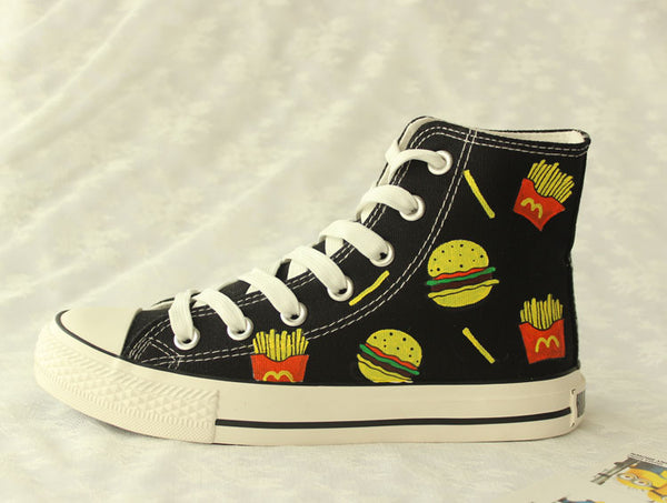 Cartoon hamburg fries couple canvas shoes  YV2444