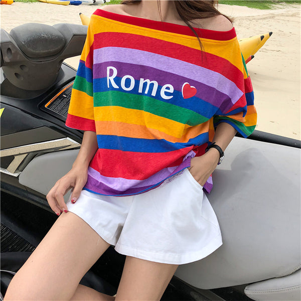 Rome Rainbow Stripe T-Shirt YV40297