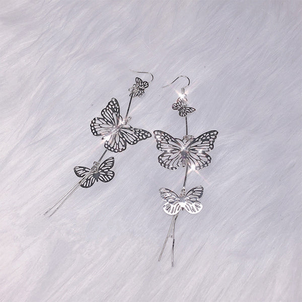 Butterfly long silver earrings yv42084