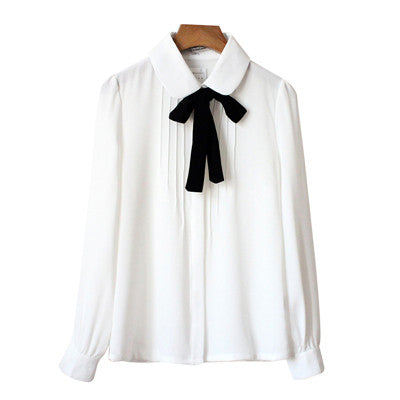 White Sweet Ribbon Bow Chiffon Blouse YV439