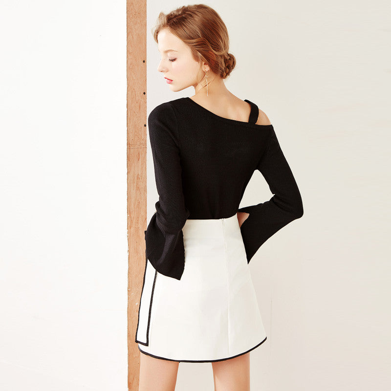Retro black and white hit color splicing irregular A line skirt YV2002