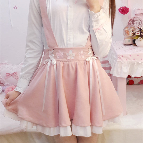 Cherry embroidery strap skirt YV561