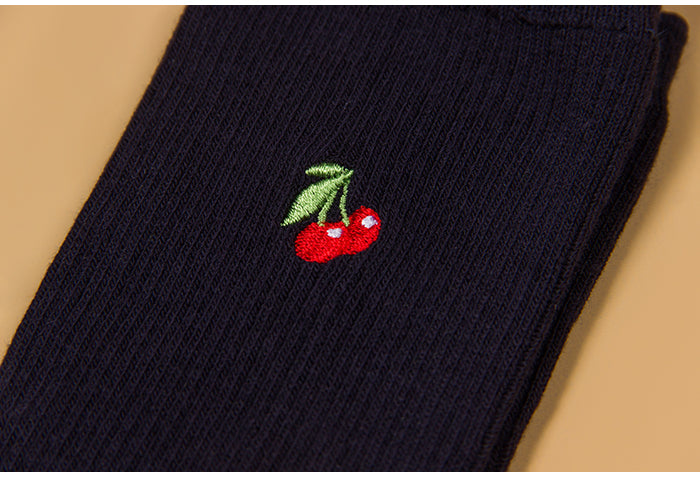 Cherry Dinosaur Crown embroidery socks YV494