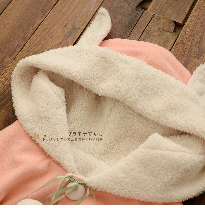 Pink/Navy Kawaii Rabbit Ears Hoodie Cape YV16042
