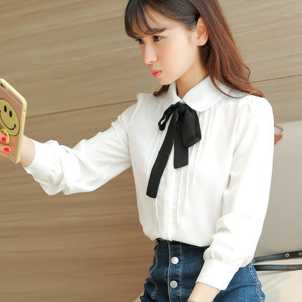 Ribbon doll collar college wind shirt  YV501