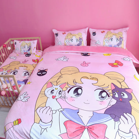 Super cute  Sailor Moon Luna Bedding Sheet Set YV2492