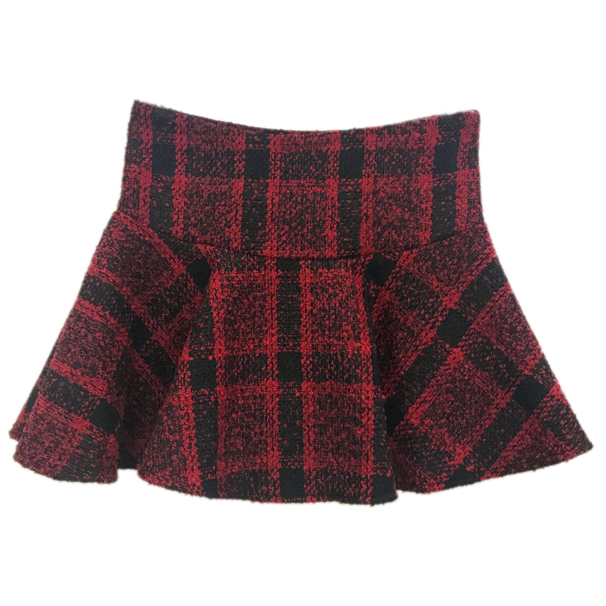 Ruffled fishtail plaid woolen skirt YV40837