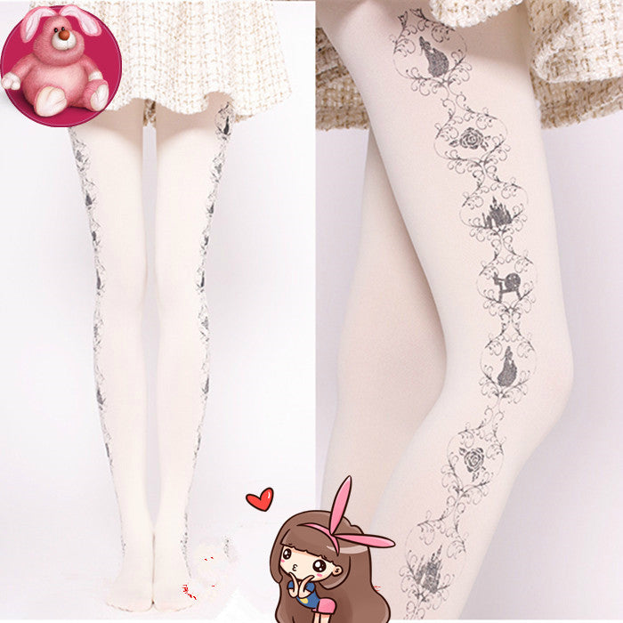 sweet white princess castle print pantyhose  Socks   YV8062