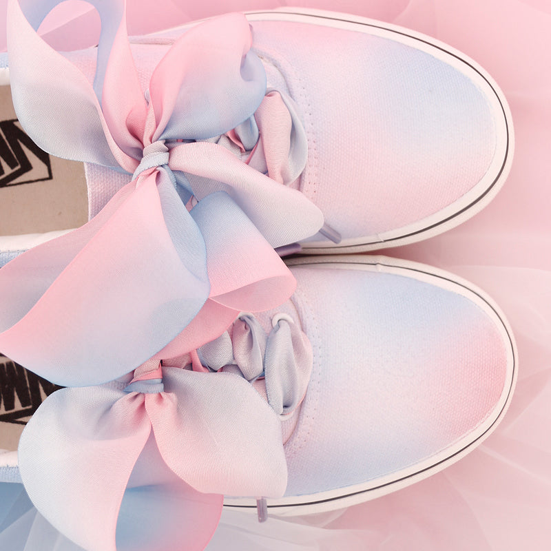 Cute bow tie tie dyed canvas shoes YV40371