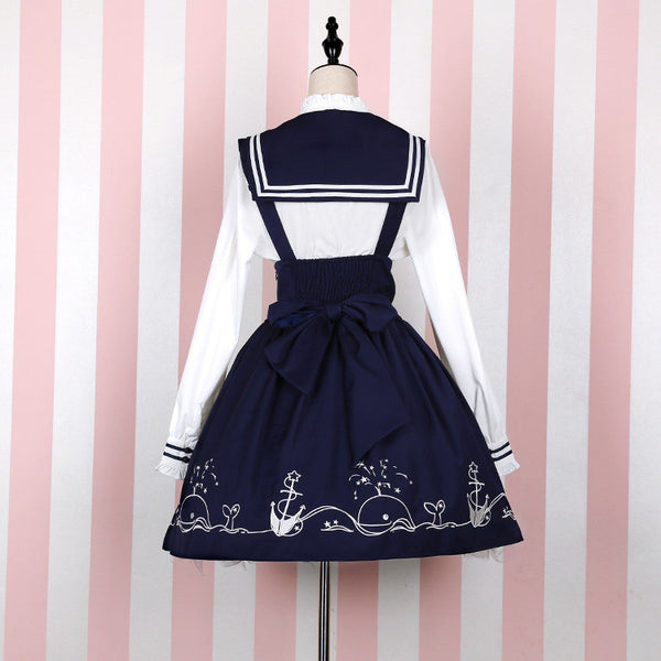 Harajuku navy wind girl actress sea high waist dress yv1129