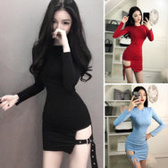 Pure color slim dress YV2508