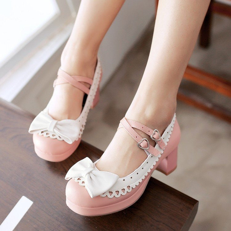 Harajuku Japanese Bow Lace Heart Strap Short Heels Shoes yv2146