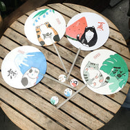 Cute Cat Hand Round Fan Four models YV40066