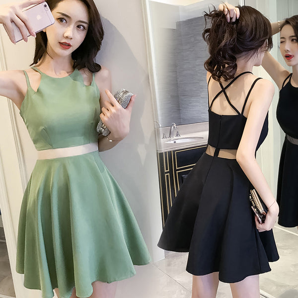 Korean sling hollow Slim  thin hight waist dress YV2106