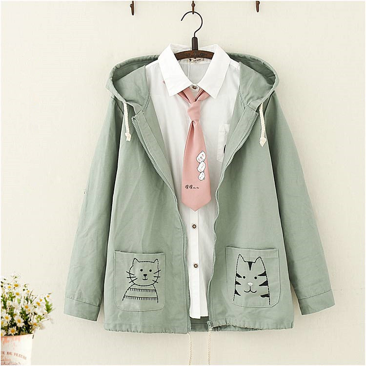 Japanese Cat Embroidery Hooded Jacket yv40539