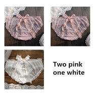 Bow bud silk gauze three-piece panties YV40789