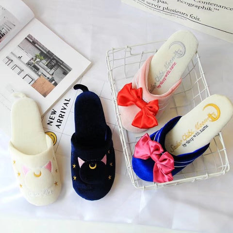 Cute sailor moon bowknot cotton slippers   YV3016
