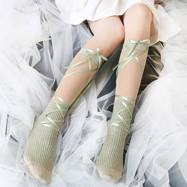 Lolita glass yarn bow tie socks YV40468