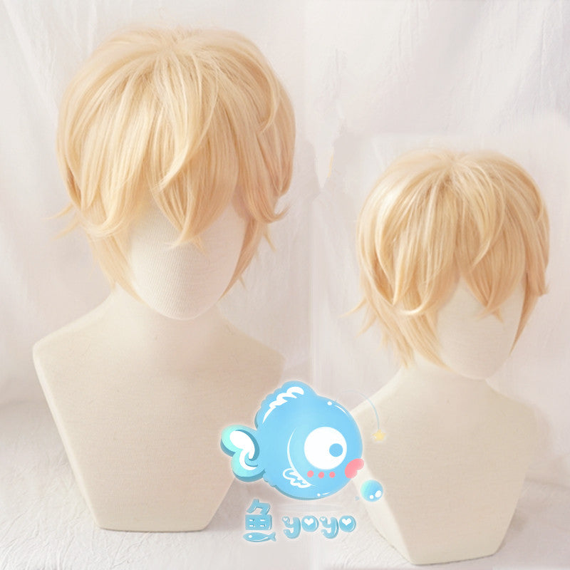 Anime cosplay white gold short wig YV43463