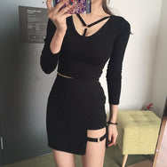 Chic irregular thin package hip tight dress and shirt set YV271