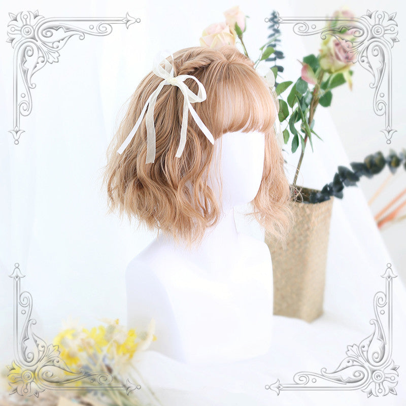 Linen gold brown air bangs wig YV40160