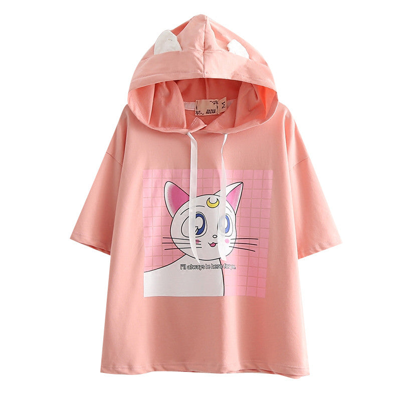 Students are cute print hooded t-shirt YV549