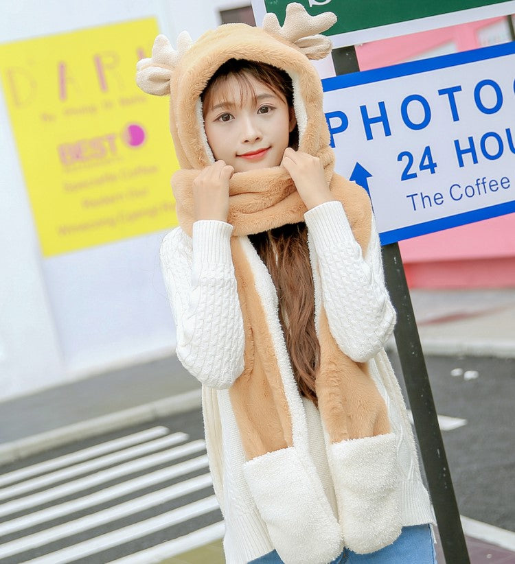 Cute antler scarf gloves YV40949