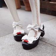 Lolita Strawberry Bow Heeled Shoes YV5604