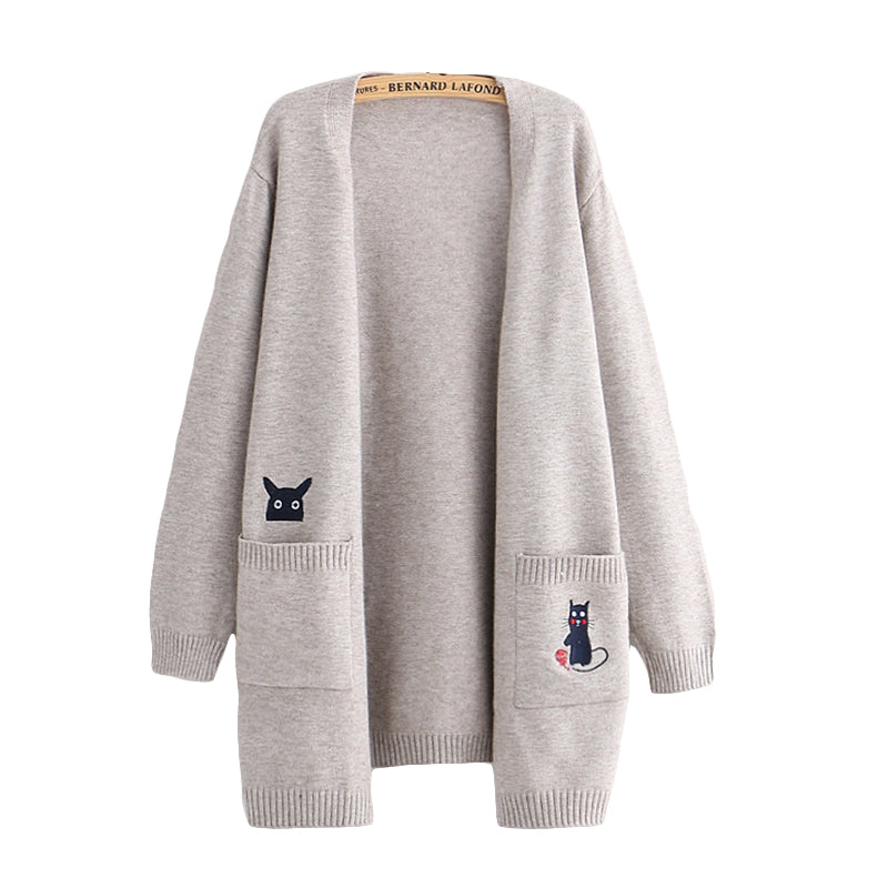 Cute cat embroidery sweater coat yv40529