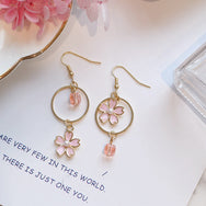 Cute Pink Cherry Blossom Asymmetrical Earrings YV40440