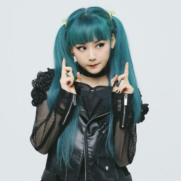 Cute blue green wig YV40790