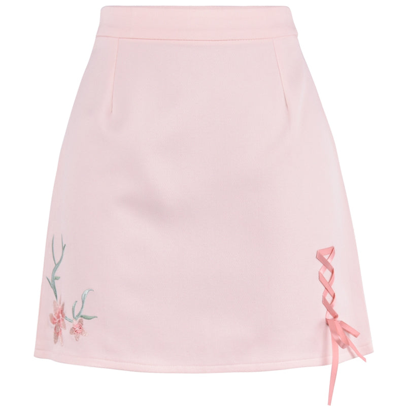 Flower pink high waist skirt YV430