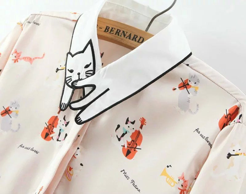 Kittens funny lapel cartoon print long-sleeved shirt YV2191