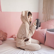 Cute cartoon and velvet pajamas suit YV8023