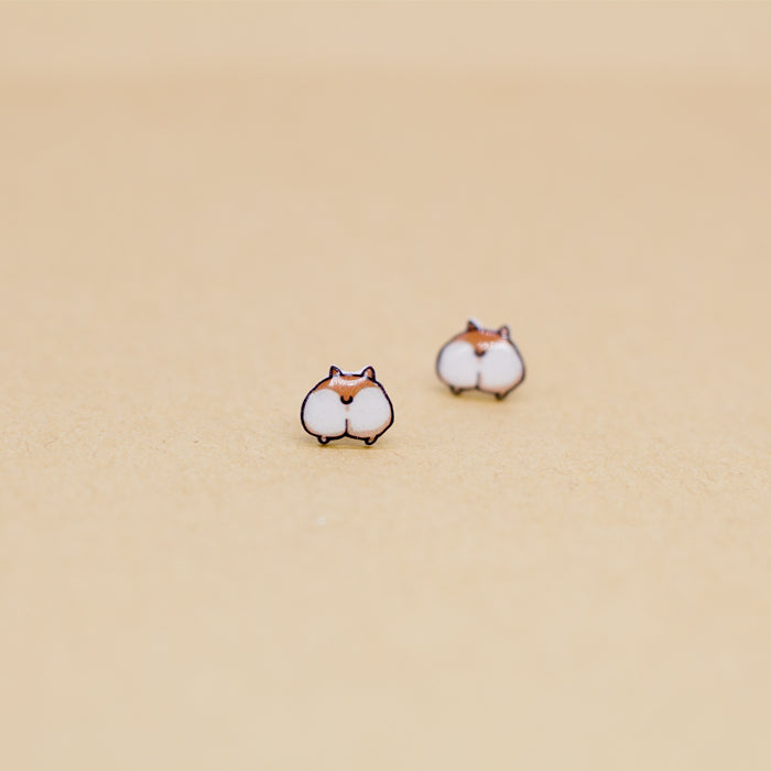 Cute Corgi Ass Silver Ear Studs YV40088