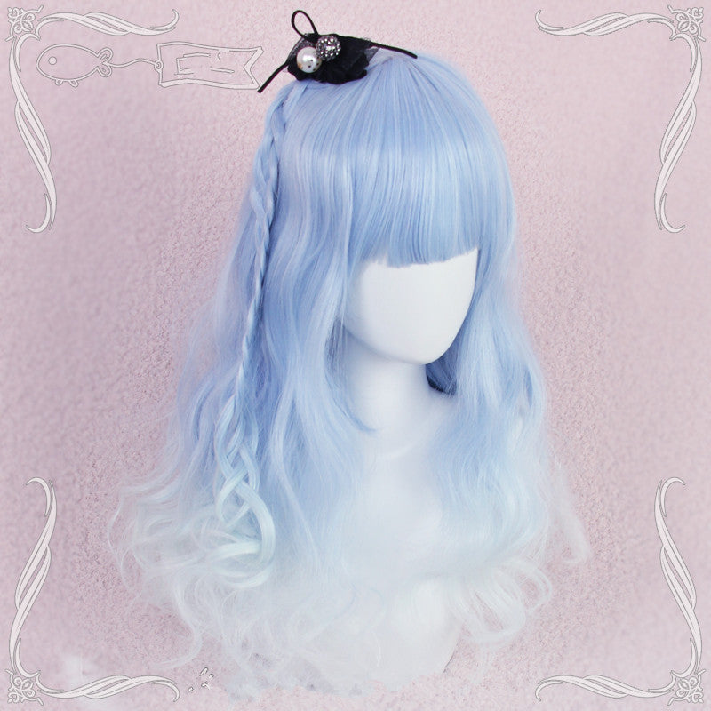 Blue gradient long roll wig YV40310