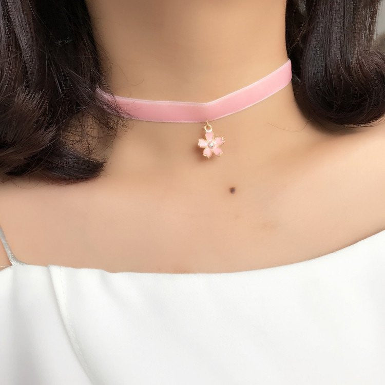 Pink cherry blossom/moon necklace  YV1511