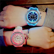 Korean cute candy color jelly glow luminous couple watch YV2483