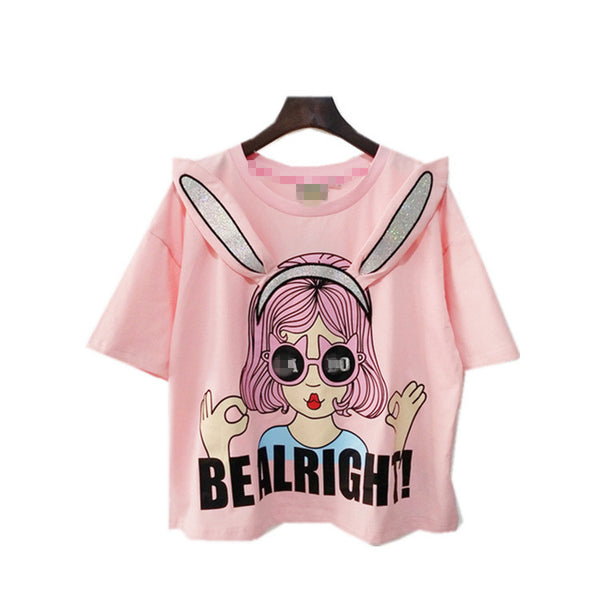 Lala bobo cute rabbit ears pure cotton T-shirt YV1502