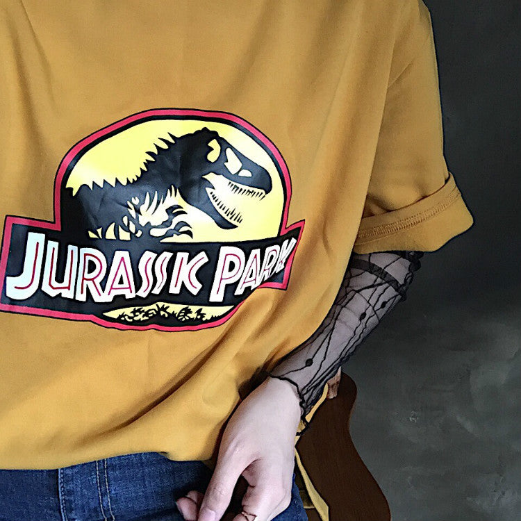 zipper Jurassic park dinosaur skeleton printed short-sleeved T-shirt YV8044