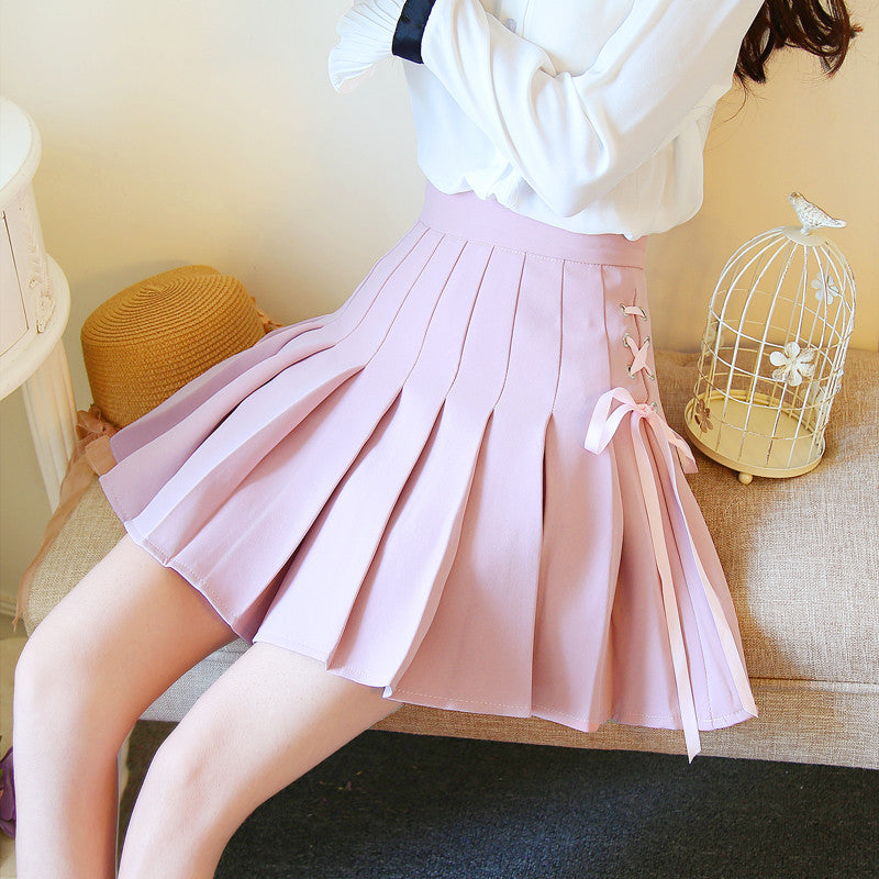 Sweet bow high waist pleated skirts YV2025