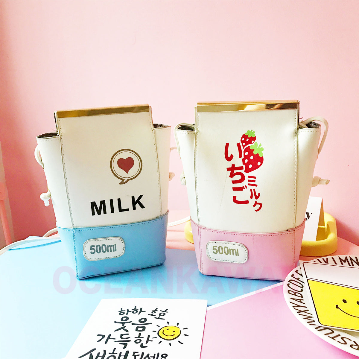 Pink baby blue milk shoulder bag yv2220