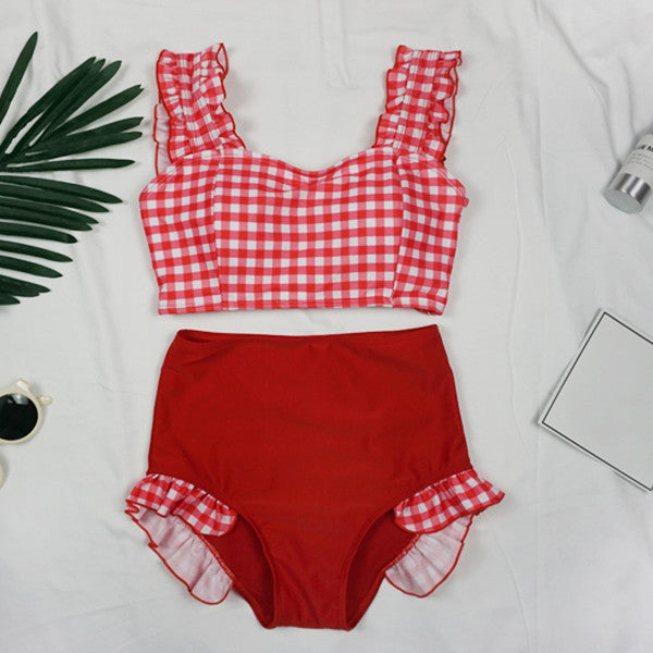 Cute lattice bow swimsuit YV40170